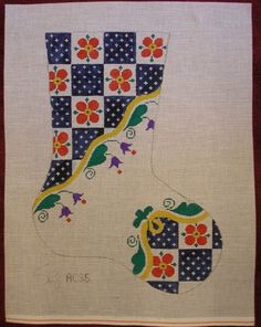 "Suz HAND PAINTED NEEDLEPOINT CANVAS CHRISTMAS STOCKING Floral Checkerboard 18"" #Suz"