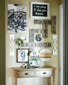 Farmhouse wall decor ideas rustic family names wall crossword puzzle farmhouse living room wall decor ideas . Living Room With Fireplace, Living Room Decor, Family Wall Decor, Living Room Wall Decor Canvas, Decor For Walls, Decorating A Large Wall In Living Room, Living Room Walls, Family Wall Collage, Foyer Wall Decor