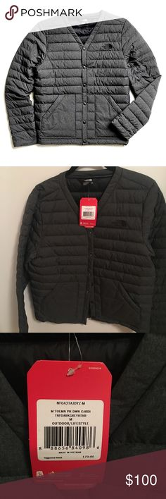 The North Face Tolman Peak Down Cardigan Jacket The North Face Dark Grey Heather, down cardigan jacket. New With Tags.  Cardigan silhouette  Snap closure at center  Two hand pockets  Active fit Product Specifications FABRIC :30Dx30D 47g/m2  100% Nylon/Polyester/goose down The North Face Jackets & Coats