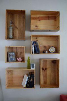 New wooden crate shelves diy home decor ideas Wooden Crates On Wall, Diy Wooden Crate, Diy Wooden Shelves, Wooden Boxes, Wine Box Shelves, Wine Boxes, Pipe Shelves, Cigar Boxes, Crate Bookcase