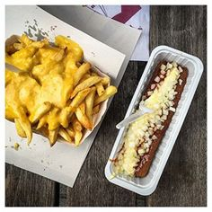 Fries, waffles and beer - that's what we had all day long during our Belgium trip.  This was our lunch in #antwerp - Frikandel Spezial and Fries with Joppie Sauce ❤️