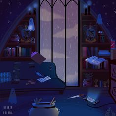 """debbie-sketch: """"Hogwarts Houses common rooms in Halloween season """""""