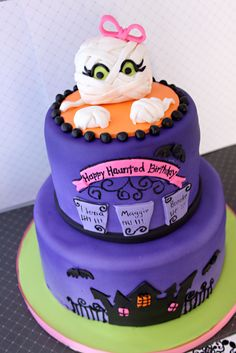 Haunted Halloween Birthday Cake ~ too cute! | See more about Halloween Birthday Cakes, Halloween Birthday and Haunted Halloween.