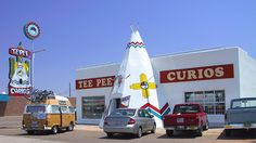 In Tucumcari, NM, is the Tee Pee Curios store. The concrete wigwam is fused onto a building where they sell souvenirs along Route 66.