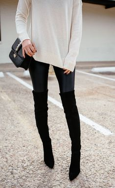Latest fashion trends: Edgy fashion | Faux leather leggins, over the knee boots and off white sweater