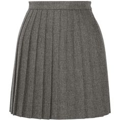 Saint Laurent Pleated wool mini skirt (19,435 MXN) ❤ liked on Polyvore featuring skirts, mini skirts, bottoms, saint laurent, grey, short pleated skirt, grey wool skirts, pleated skirts, short skirts and gray wool skirt