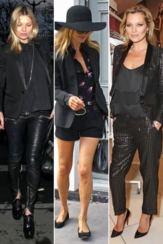 Borrow From the Boys - Kate Moss knows the secret to an instantly-polished look is a well-fitted blazer, no matter if it's tuxedo or metallic.