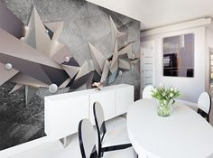 """Decorate your living room with abstract art: grey wallpaper """"Geometrical Constellation"""" and hand made painting """"Fading"""""""