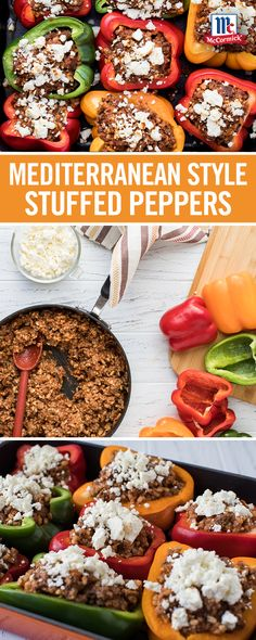 This delicious stuffed peppers recipe features ground beef, brown rice, golden raisins and almonds seasoned with a flavorful spice combination. Serve as a light, veggie-filled dinner idea for busy weeknights. Great Recipes, Dinner Recipes, Favorite Recipes, Dinner Ideas, Beef Recipes, Cooking Recipes, Healthy Recipes, Recipies, Healthy Cooking