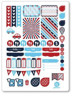 Patriotic Weekly Spread Planner Stickers for Erin Condren Planner, Filofax, Plum Paper