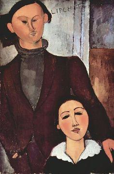 Amedeo Modigliani - Retrato de Jacques Lipchitz y su esposa. 1916. Art Institute, Chicago. Amedeo Modigliani, Modigliani Paintings, Italian Painters, Italian Artist, The Arnolfini Portrait, Chaim Soutine, Oil Painting Reproductions, Arte Pop, Art Institute Of Chicago