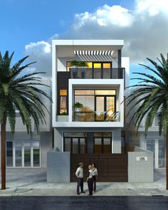 Street house of Mr.Thang Home Design vom Urbanist Lab Narrow House Designs, Modern Small House Design, Minimalist House Design, 3 Storey House Design, House Front Design, Modern Architecture House, Facade Architecture, Model House Plan, Street House