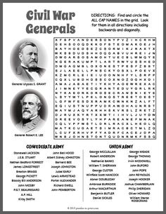 Free Printable Civil War Generals Word Search Fun Worksheets For Kids, Math Activities For Kids, Classroom Activities, School Projects, School Ideas, Free Printable Word Searches, History For Kids, Word Puzzles, Cycle 3