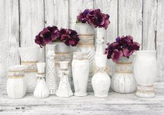 Shabby Chic Burlap Lace and Rhinestone Vase Set by SoFrickinCute