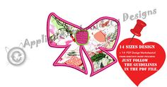 Bow Applique Machine Embroidery Design-Girl Bow Applique