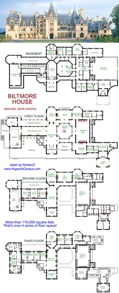 Biltmore House, with floor plans