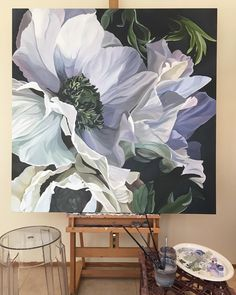 Brushes down for the day. Oil Painting Flowers, Large Painting, Artist Painting, Watercolor Flowers, Watercolor Paintings, Floral Wall Art, Botanical Art, Painting Inspiration, Flower Art