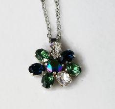 Swarovski crystal oval fancy stone flower pendant  erinite,montana,clear crystal #Swarovski