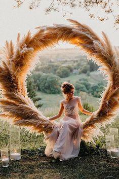 Trendy Bohemian Wedding Decorations ❤️ bohemian wedding decorations round shaped pampas grass bridal altar decorated with candles maria_zhandarova #weddingforward #wedding #bride #bohowedding #bohemianweddingdecorations