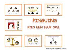Digibordles: Pinguins 7 verschillende spelletjes over pinguins. Een telspel tot en met 20, twee weegspelletjes, zoek de goede schaduw, wie staat er achter het gordijn, wie heeft de meeste/minste vissen in zijn wak en als laatste of elke pinguin een vis heeft of is er een vis te veel of is er één te weinig.