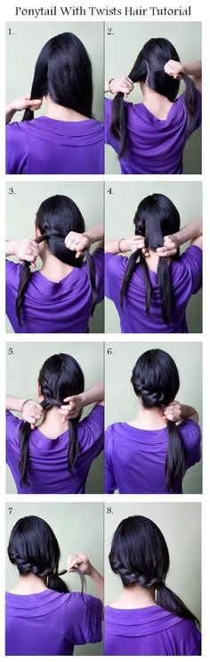 Ponytail with twisted hair tutorial Twist Hairstyles, Ponytail Hairstyles, Pretty Hairstyles, Hair Ponytail, Updo Hairstyle, Braid Hair, Ponytail Ideas, Wedding Hairstyles, Style Hairstyle