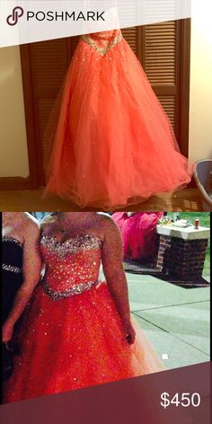 "Marie lee by Madeline Garner prom dress size 12 Gorgeous coral ball gown, fits like a 10, I'm 5'2"" and it needed to be hemmed for me. madeline garner Dresses Prom"