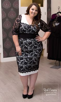 """Real Curve Cutie Jennifer (5'6"""") showed off her gorgeous curves in our plus size RSVP Lace Cocktail Dress."""