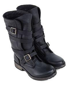 STEVE MADDEN BANDDIT Leather Mid High Boots BANDDIT皮革中筒靴