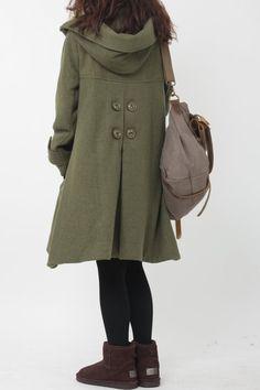 Army Green cloak wool coat Hooded Cape women Winter wool by MaLieb Wool Coat, Wool Overcoat, Altered T Shirts, Winter Sweater Dresses, Asian Street Style, Coat Patterns, Coat Dress, Fashion Outfits, Womens Fashion
