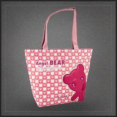 Sac à main Angel Bear ours rose pour femme. Un sac shopping cabas à l'effigie d'un ourson tout rose.