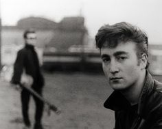 John Lennon, Hamburg Fun Fair, Heiligengeistfeld,   1960, by Astrid Kirchherr