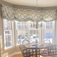 fenster Roman Shade - Stationary - Valance- Custom Designer Fabric Included - Any Size -Slate & Spa Blue Medallion Weave - Pattern Bow Window Treatments, Window Treatments Living Room, Window Coverings, Traditional Window Treatments, Rideaux Du Bow Window, Comedor Shabby Chic, Kitchen Window Valances, Diy Bay Window Curtains, Large Curtains