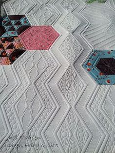 Oh my word! I love the texture my (judi madsen) quilting made on this hexie quilt! So beautiful!: