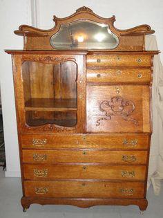 Antique Quarter Sawn Oak American Secretary Bookcase Buffet Circa 1890 | eBay