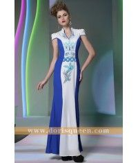 Mermaid Blue/White Printed Silk Cheongsam Dress 30932
