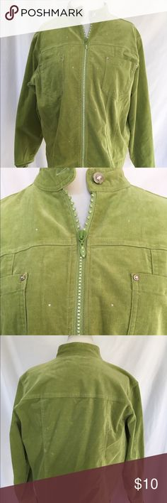 Quaker Factory Lime green corduroy jacket with rhinestone zipper, buttons, and throughout the jacket Quaker Factory Jackets & Coats