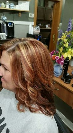 Side view of red and blonde color
