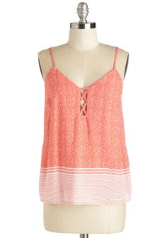 Beachfront Bash Top. Toes in sand, margarita in hand, and this bright coral tank looking totally cute - your seaside soiree is already a success! #coral #modcloth