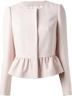 Red valentino Collarless Peplum Jacket in Pink (pink & purple) Blouse Styles, Blouse Designs, Mode Batik, Hijab Fashion, Fashion Dresses, Peplum Jacket, Collarless Jacket, Pink Jacket, Peplum Blazer