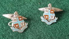 Circa 1930 Wesley College (Melbourne) Sterling Silver and Enamel Cufflinks Wesley College, Antique Jewelry, Melbourne, Cufflinks, Enamel, Candles, Sterling Silver, Christmas Ornaments, Antiques