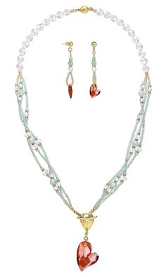 Jewelry Design - Triple-Strand Necklace and Earring Set with Swarovski Crystal and Seed Beads - Fire Mountain Gems and Beads