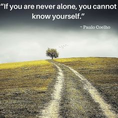"""If you are never alone, you cannot know yourself."" ~ Paulo Coelho #AhaNOW #quotes #thoughts #sayings #wisewords"