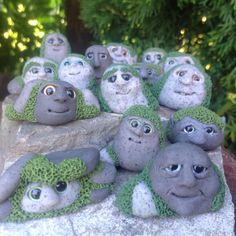 Fairy garden rock gnome decoration Pebblings by Beneaththeferns                                                                                                                                                                                 More