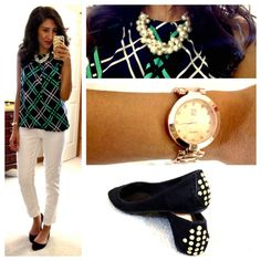 Hello, Gorgeous!: JCPenney top, Target Mossimo skinny ankle pants, Bamboo flats, Forever21 chunky pearl necklace, NY&CO watch