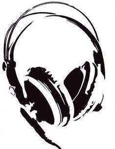 by on DeviantArt headphone art Stencil Art, Girl With Headphones, Drawings, Art, Lino Print, Headphones Tattoo, Music Tattoos, Musical Art, Stencils