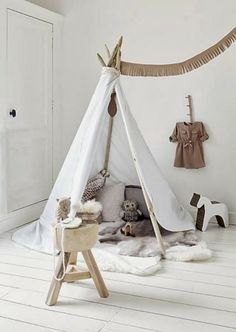 teepee in kids room. white, neutral.