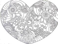 Heart Zentangle Paisley Doodle Drawing by Hand Coloring Pages For Grown Ups, Heart Coloring Pages, Printable Coloring Pages, Adult Coloring Pages, Coloring Sheets, Coloring Books, Paisley Doodle, Doodle Coloring, Mandala Coloring
