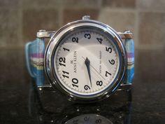 Anne Klein~Ladies Watch~10 6641~Silver Tone~Blue Striped Canvas~Leather Band