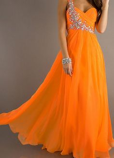 Bright orange Ancient Greek style dress