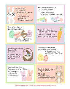 Print these free printable Easter scavenger hunt clues, simple enough for young kids to solve! A fun way to find their baskets on Easter morning! Hoppy Easter, Easter Eggs, Easter Egg Hunt Clues, Easter Egg Hunt Ideas, Easter Basket Ideas, Scavenger Hunt For Kids, Scavenger Hunts, Easter Scavenger Hunt Riddles, Easter Riddles